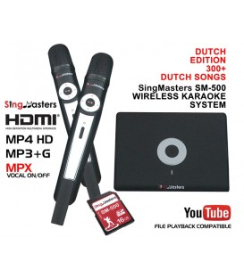 Dutch Edition-SM500 SingMasters Dual Wireless Microphones Karaoke Machine System,300 Dutch Karaoke songs