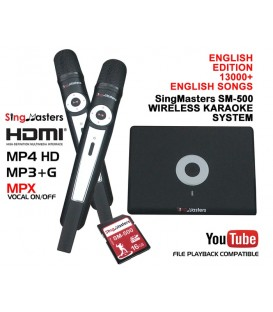 English Edition-SM500 SingMasters Dual Wireless Microphones Karaoke System Machine,13000+ English Karaoke Songs