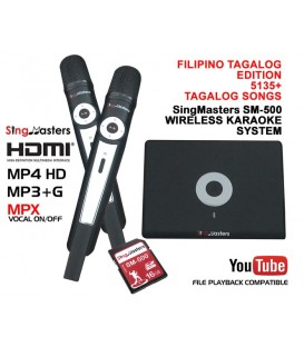 Philippines Filipino Tagalog Edition-SM500 SingMasters Dual Wireless Mics Karaoke Machine,5135 Tagalog & 12985 English Songs