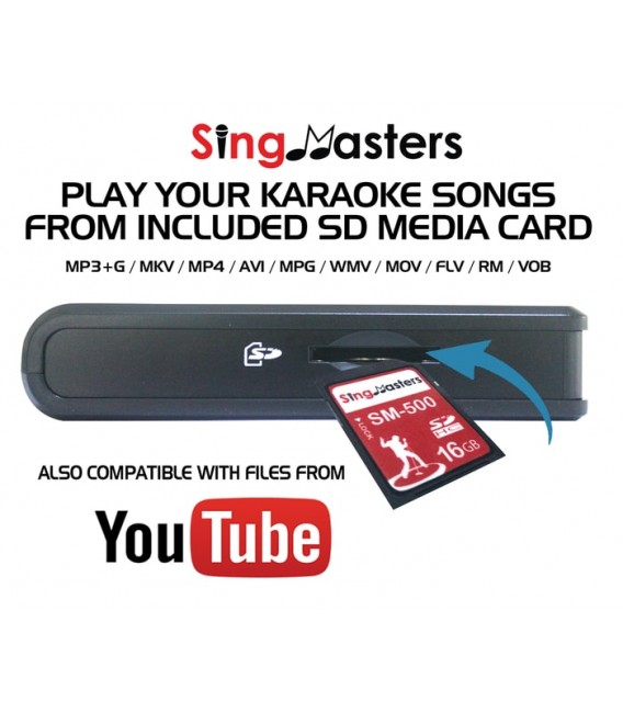 French Edition-SM500 SingMasters Karaoke System Dual Wireless Microphones