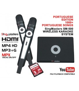 Portuguese Edition-SM500 SingMasters Dual Wireless Microphones Karaoke Machine System,999+ Portuguese Karaoke songs