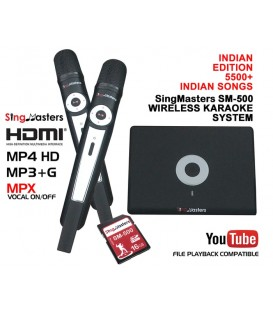 Indian Edition-SM500 SingMasters Dual Wireless Microphones Karaoke Machine System,5300+ Indian Karaoke songs in 10 Languages