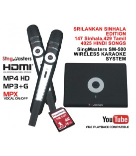 Sri Lankan Sinhala Edition-SM500 SingMasters Dual Wireless Microphones Karaoke Machine,147 Sinhala,429 Tamil,4025 Hindi songs