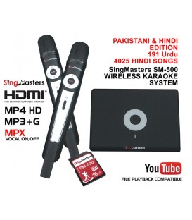 Pakistani Urdu Edition-SM500 SingMasters Dual Wireless Microphones Karaoke Machine System,190 Urdu,4025 Hindi Karaoke songs