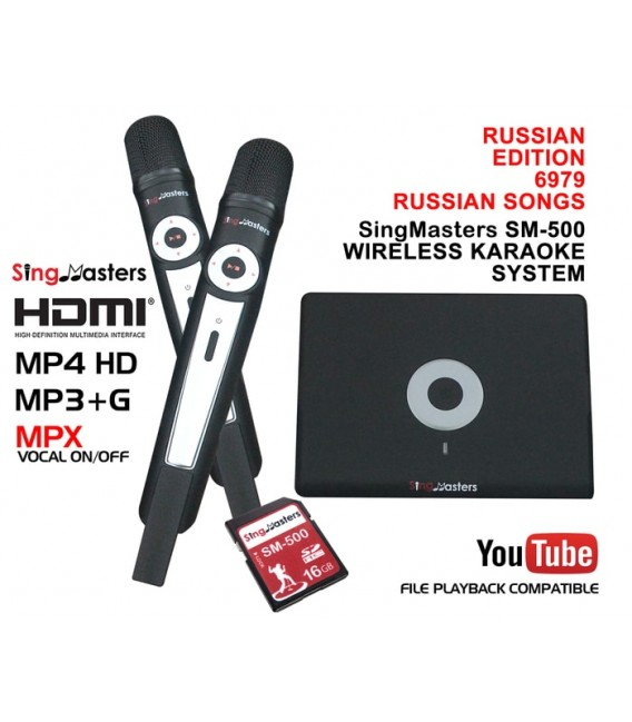 Russian Karaoke Edition-SM500 SingMasters Karaoke System Dual Wireless Microphones